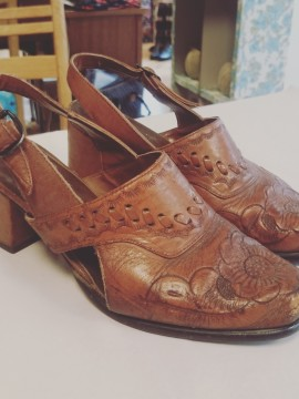 Vintage Carved Leather Heels