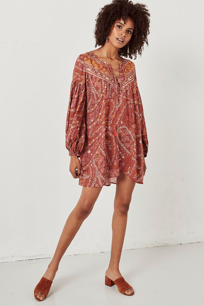 3fd6f9aab86 Spell & the Gypsy Collective City Lights Tunic Dress Auburn - Belle ...