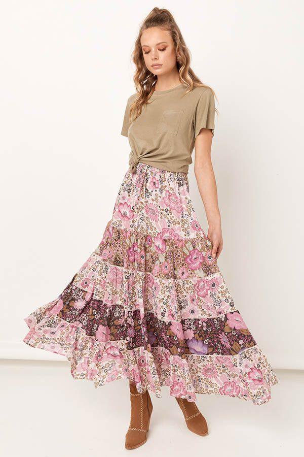 1de314187ec Spell   the Gypsy Collective Desert Daisy Maxi Skirt Lilac - Belle ...