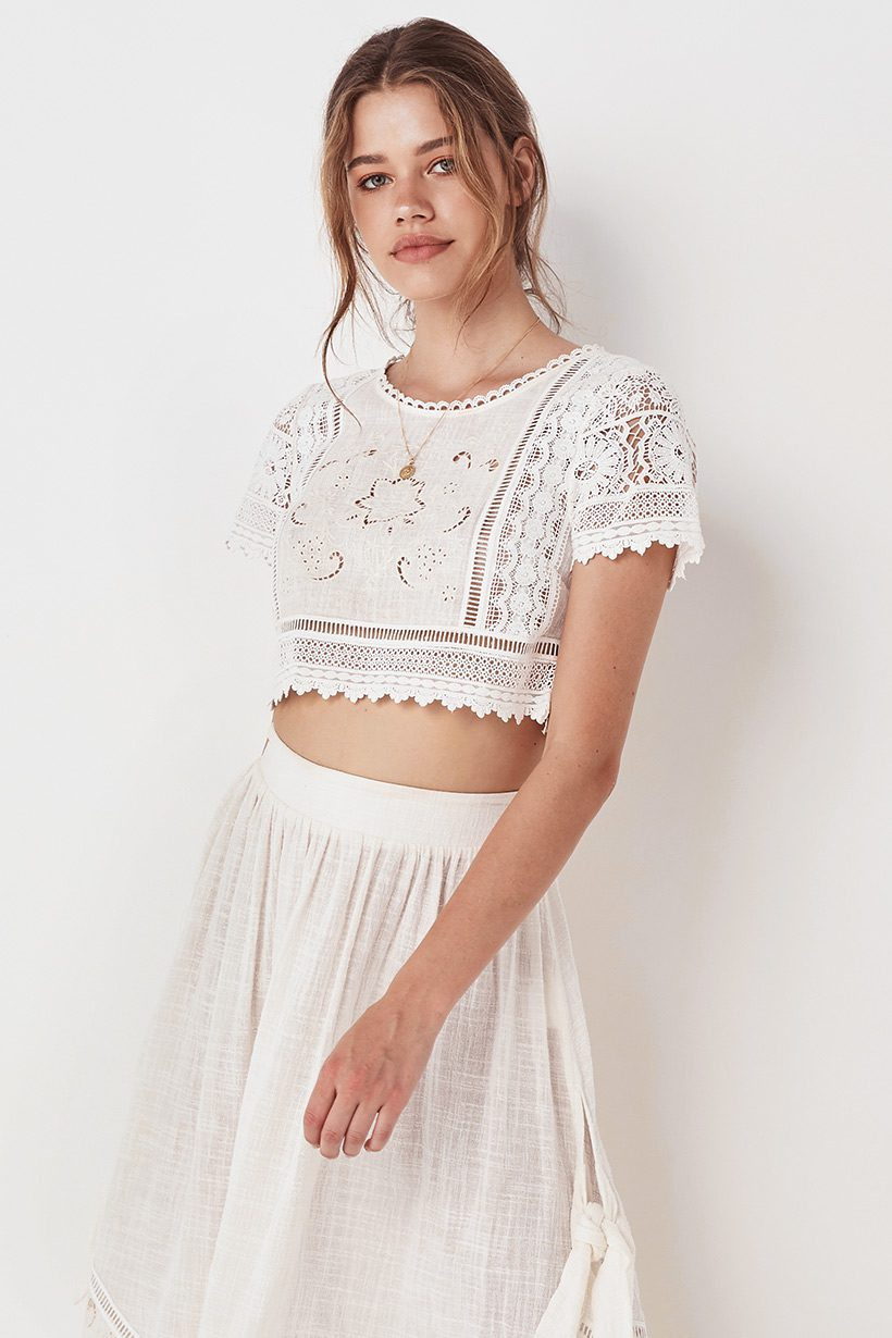 f83ac0b18e Spell   the Gypsy Collective Abigail Lace Crop Top - Belle   the Brave